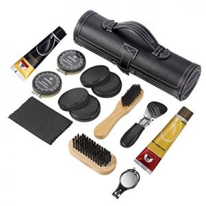 COBBLER'S BEST Shoe Care Kit,12-Piece Travel Shoe Shine Brush kit