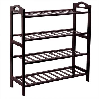 SONGMICS 100% Bamboo 4-Tier Entryway Shoe Shelf Shoe Racks and Organizers Storage
