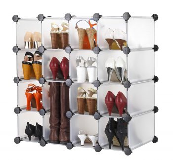 VonHaus 16x Interlocking Shoe Cubby Organizer Storage Cube Shoe Racks and Organizers in Transparent White