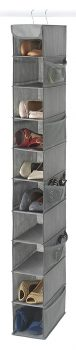 Zober 10-Shelf Hanging Shoe Racks and Organizers, Shoe Holder for Closet - 10 Mesh Pockets for Accessories